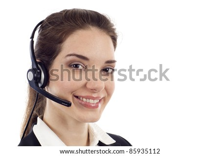 Closeup of a beautiful business customer service woman smiling with copyspace isolated over white - stock photo