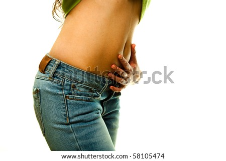 Closeup of a beautiful woman's waist isolated on a white background - stock photo