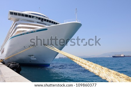 closeup of  a big cruise ship - stock photo