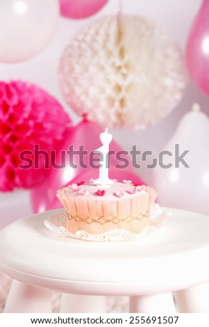 Closeup of a birthday cake - stock photo