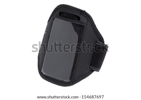 closeup of a black running armband for smartphone on white - stock photo