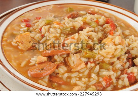Closeup of a bowl of hearty chicken and sausage gumbo  - stock photo