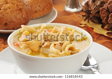 Closeup of a bowl of turkey or chicken noodle soup - stock photo