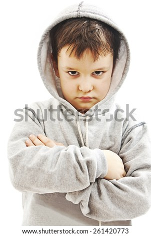 Closeup of a boy wearing a hoodie, underlit. Isolated on white background  - stock photo