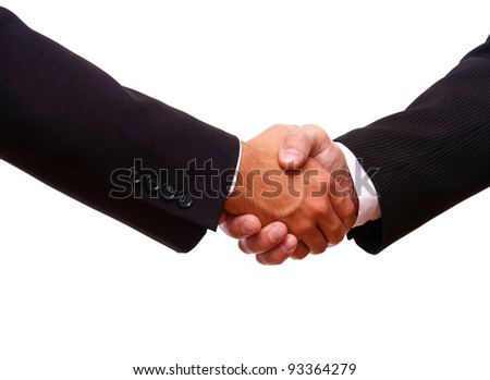 Closeup of a business handshake on white background - stock photo