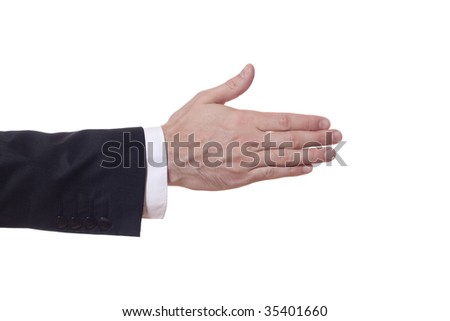 closeup of a businessman arm who extends his hand - stock photo