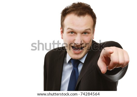 Closeup of a businessman pointing at you - stock photo