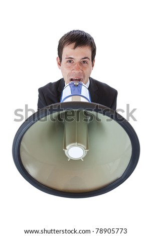 Closeup of a businessman roaring loudly into megaphone.Isolated on white background. - stock photo