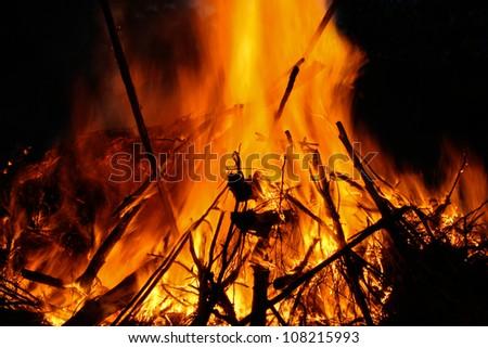 Closeup of a campfire - stock photo