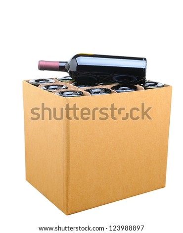 Closeup of a case of wine with one bottle resting on top. Isolated on white. - stock photo