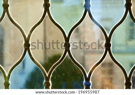 Closeup of a colored glass in the castle of Chaumont Sur Loire, Loire Valley, France - stock photo