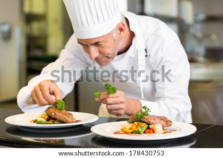 Closeup of a concentrated male chef garnishing food in the kitchen - stock photo