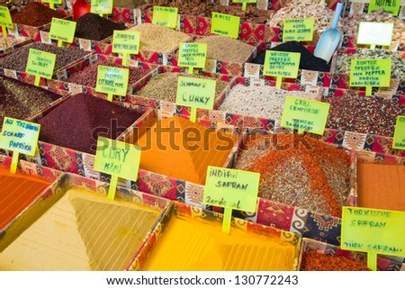 Closeup of a counter with a big  variety of spices on  the Antalian market. Turkey, Antalya - stock photo