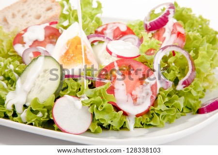 Closeup of a delicious mixed green salad with egg, onion, tomato and cucumber drizzled with a tangy salad dressing for a healthy meal - stock photo
