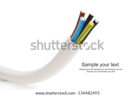 closeup of a electric cable on a white background - stock photo