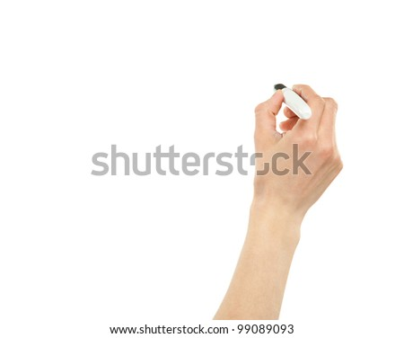 Closeup of a female hand writing with a marker isolated on white; copy space - stock photo