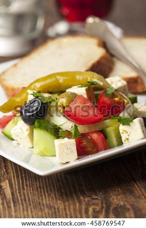 closeup of a greek side salad  - stock photo