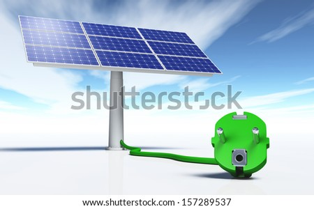 closeup of a green plug connected with a green wire to a solar panel, on a white ground and a blue sky with some clouds - stock photo