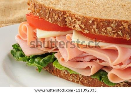 Closeup of a ham and swiss cheese sandwich on whole wheat bread - stock photo