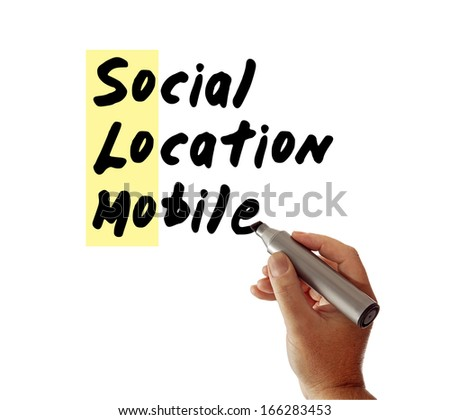 Closeup of a hand writing the message Social Location Mobile with a marker, possibly for a business or Internet / Web strategy, isolated on a white background, with So Lo Mo highlighted. - stock photo