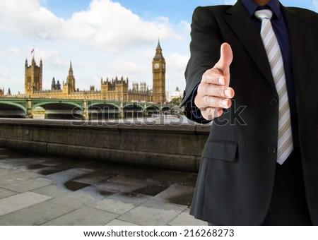 closeup of a handshake in London UK - stock photo