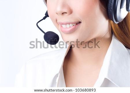 Closeup of a  happy female customer service representative - stock photo