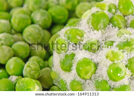 Closeup of a heap of frozen peas  - stock photo