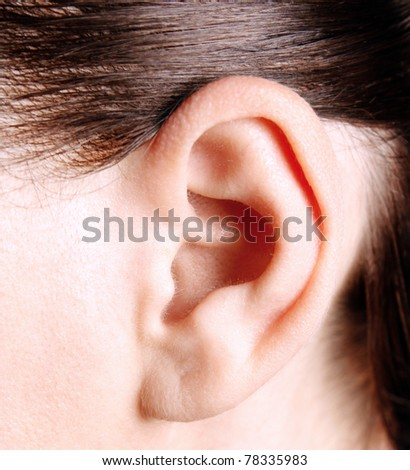 Closeup of a human ear - stock photo
