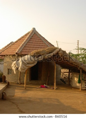 closeup of a hut in indian village - stock photo