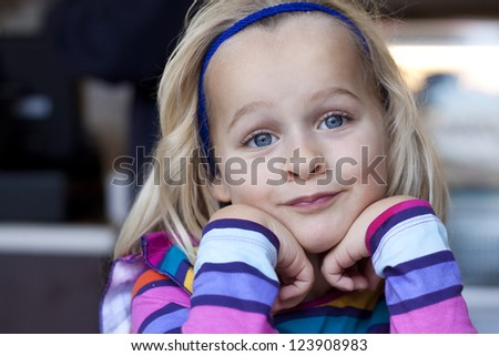 Closeup of a little girl - stock photo