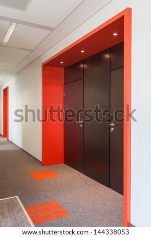 Closeup of a main entrance to the office centre - stock photo