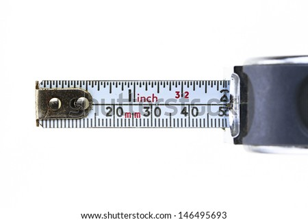 closeup of a metal tape measure in a white background - stock photo