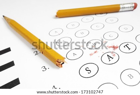 Closeup of a multiple choice exam with SAT text                                - stock photo