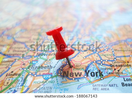 Closeup of a New York City map with red tack                                - stock photo