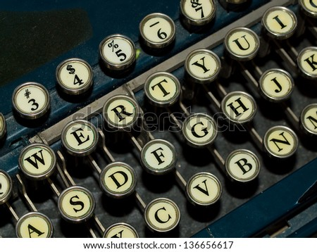 Closeup of a Old, Manual Typewriter Keyboard - stock photo