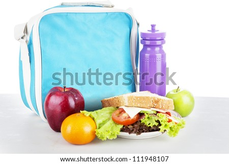 Closeup of a packed school lunch for child. shot in studio - stock photo