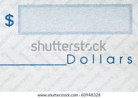 closeup of a personal check - dollar sign and space for the amount - stock photo