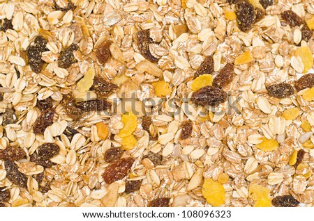 closeup of a pile of muesli - stock photo