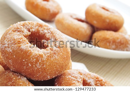 closeup of a pile of rosquillas, typical spanish donuts - stock photo