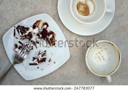 Closeup of a plate after the dessert was finished - stock photo