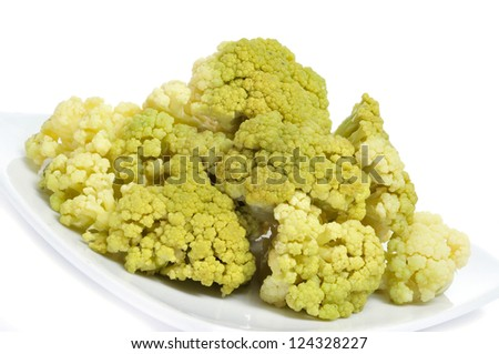 closeup of a plate with cooked cauliflower - stock photo