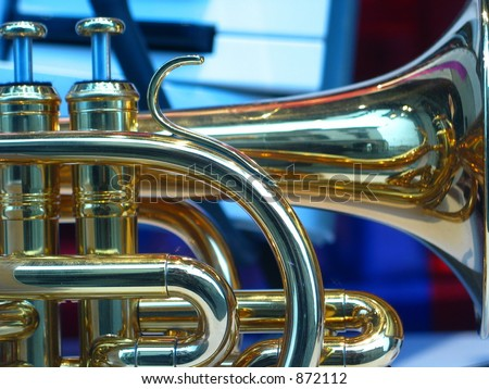 Closeup of a portion of a trumpet - stock photo