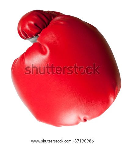 Closeup of a punch using a boxing glove isolated on white background - stock photo