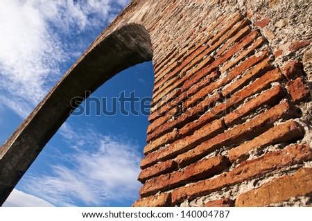 Closeup of a roman bridge - stock photo