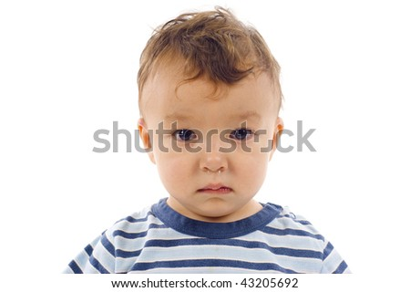 Closeup of a sad lonely baby boy with running rose isolated over a white background - stock photo