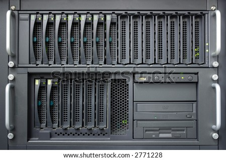 Closeup of a server and RAID array and operating lamps flashing - stock photo