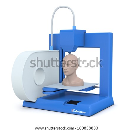 closeup of a small 3d printer that builds a human head (3d render) - stock photo