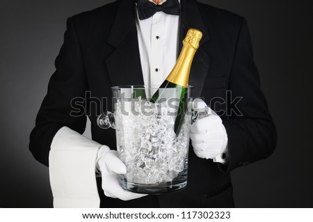 Closeup of a Sommelier holding a Champagne Ice Bucket in front of his torso. Horizontal format on a light to dark gray background. - stock photo