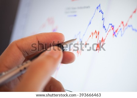 Closeup of a stock market graph on a computer screen - stock photo