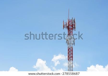 Closeup of a telecommunication tower - stock photo